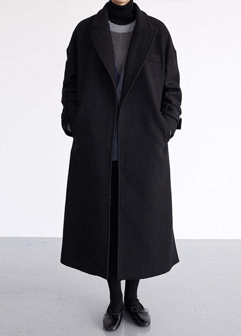 Open double wool coat