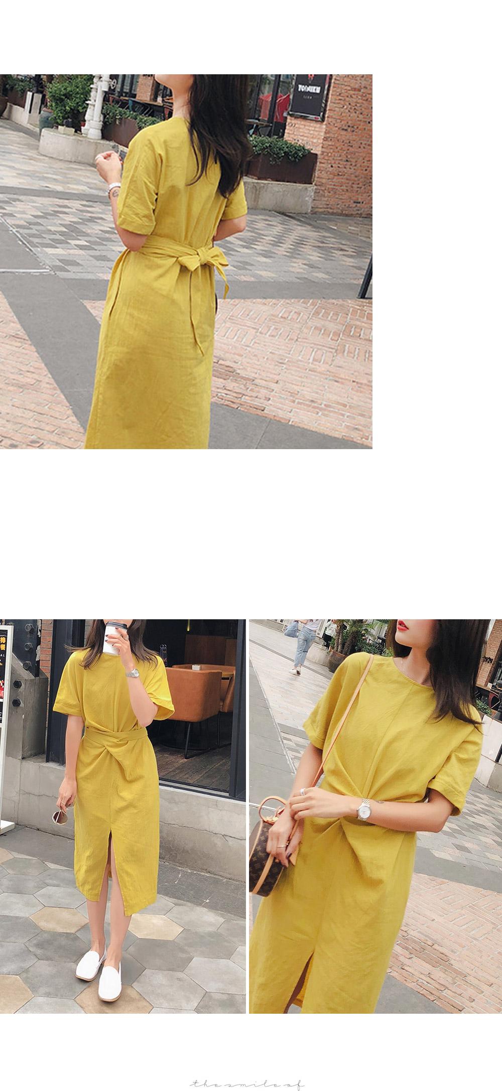 Tangerine linen twisted dress