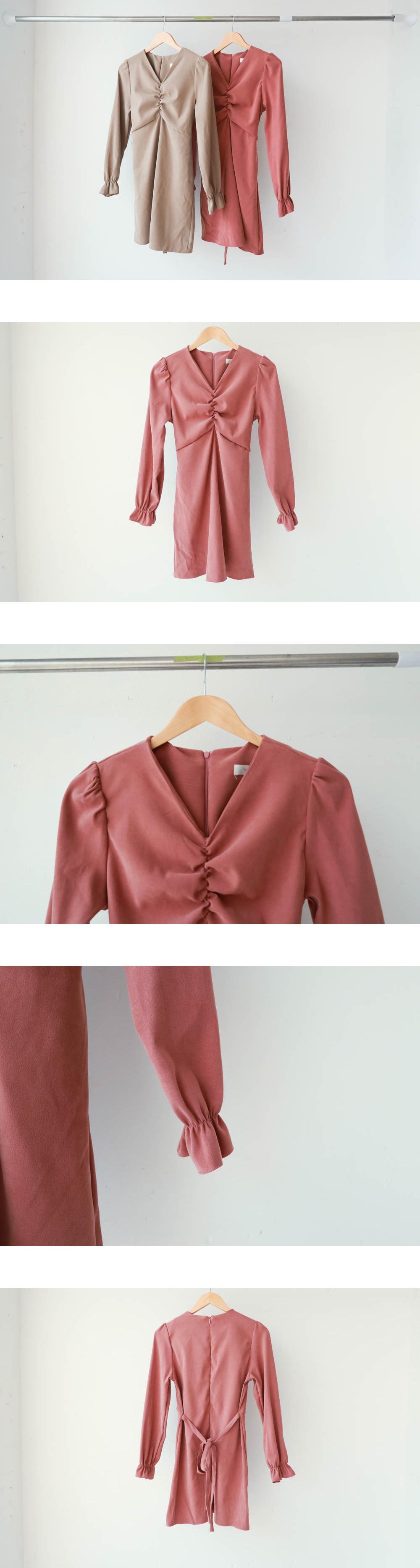 Front shearing V-neck dress
