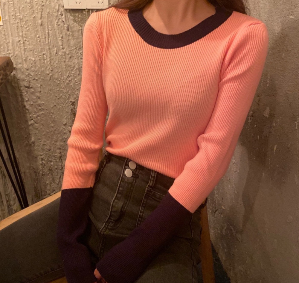 Pants point color corrugated knit