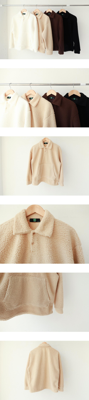 Fleece plain collar T-shirt (t0448)