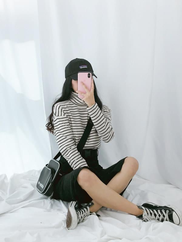 韓國空運 - Casder striped Turtleneck T-shirt 長袖上衣