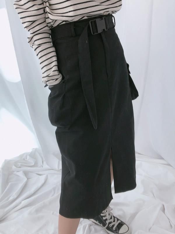 Belted Cargo Long Skirt