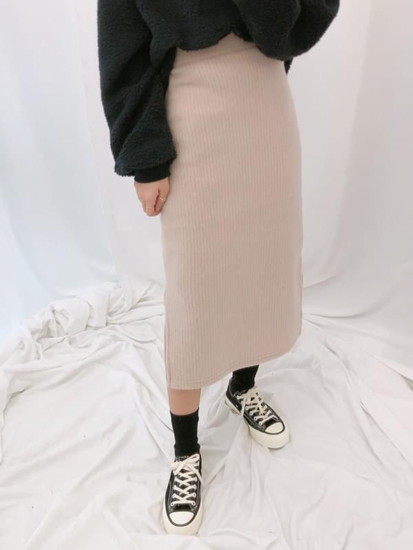 Side knit knit long skirt