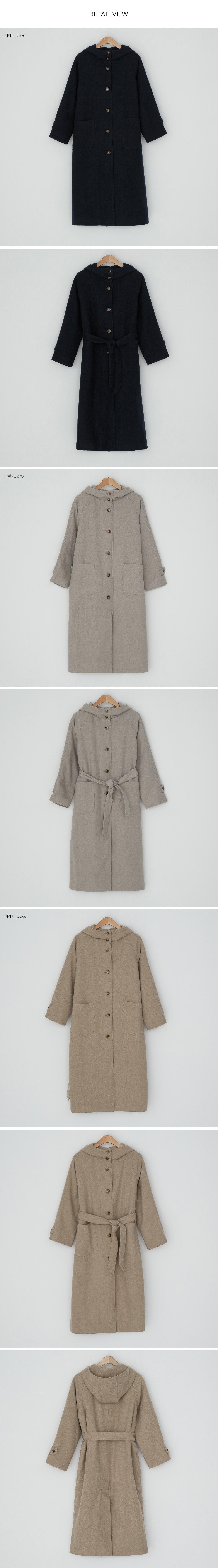 Loose-fit wool hooded coat