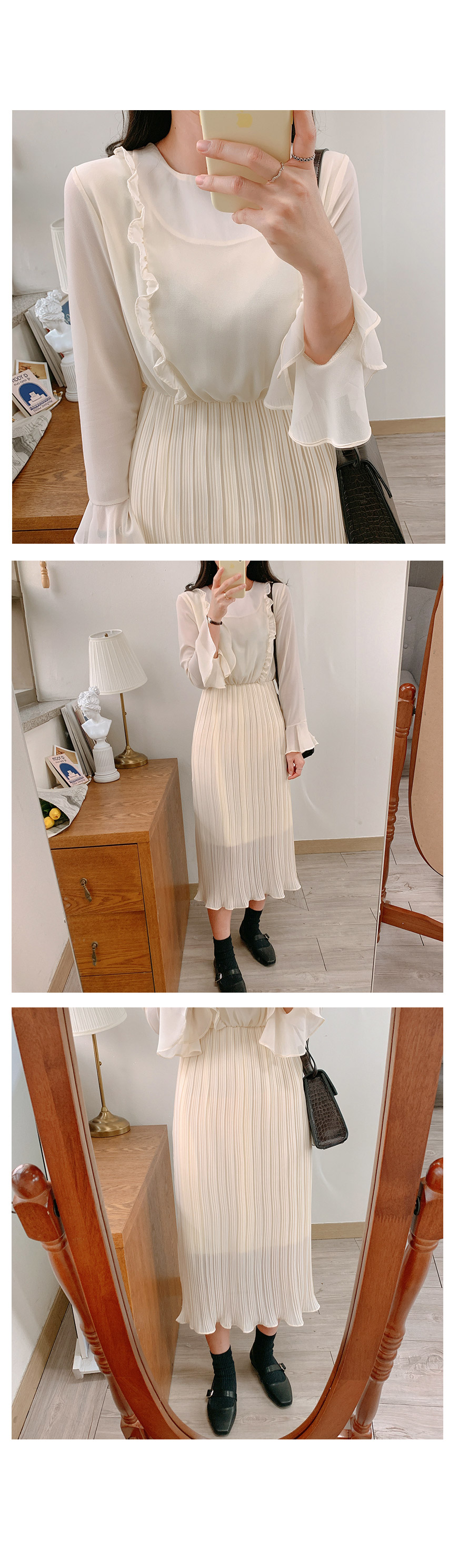 Thanks ♥ Frill Pleated Chiffon Long ops-3color
