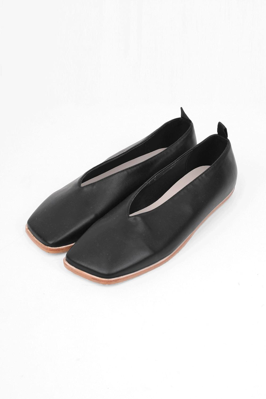 square wood flat shoes (4colors)