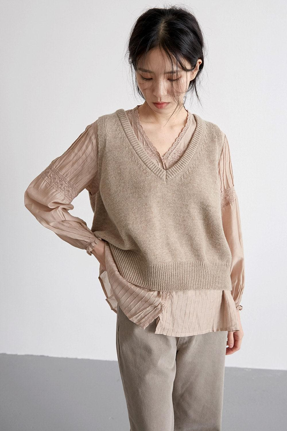 layerd knit vest (2colors)