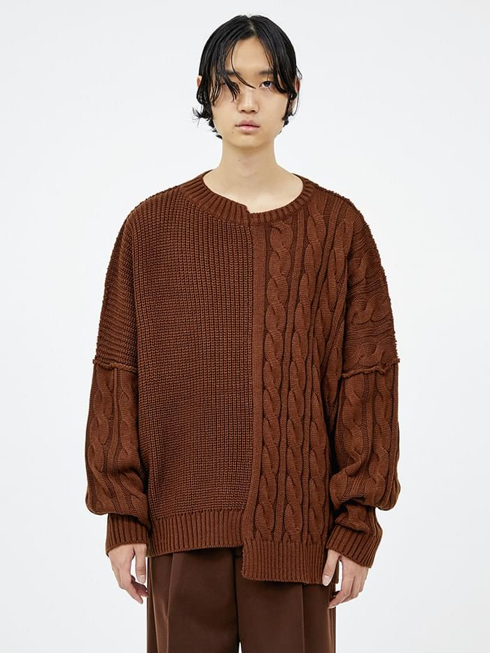half-and-half cable knit (3 color) - men