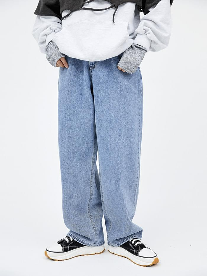 season wide denim pants (2 color) - men