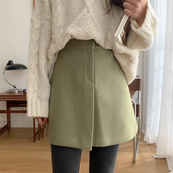 Mocha Chino Wool Skirt