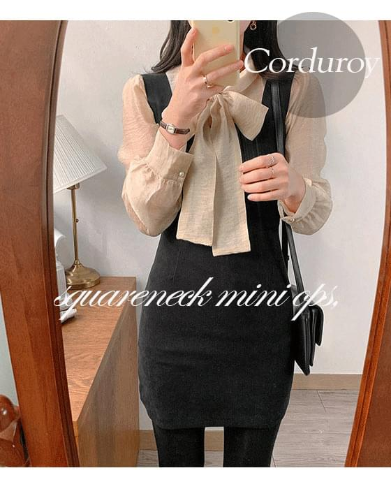 Thanks ♥ corduroy square neck bustier mini ops-4color