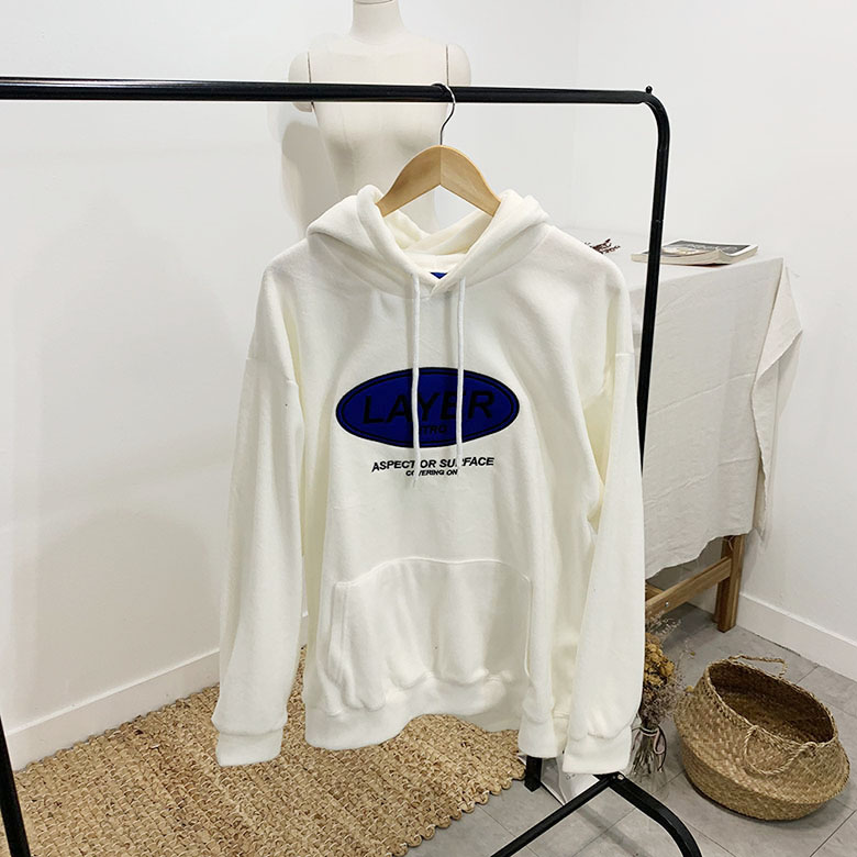 Rare Lettering Fleece Hooded T-shirt