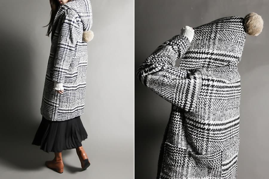 Glen check drops wool coat_ct03473