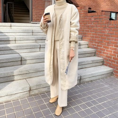 Butter Overfit Fleece Quilted Long Coat