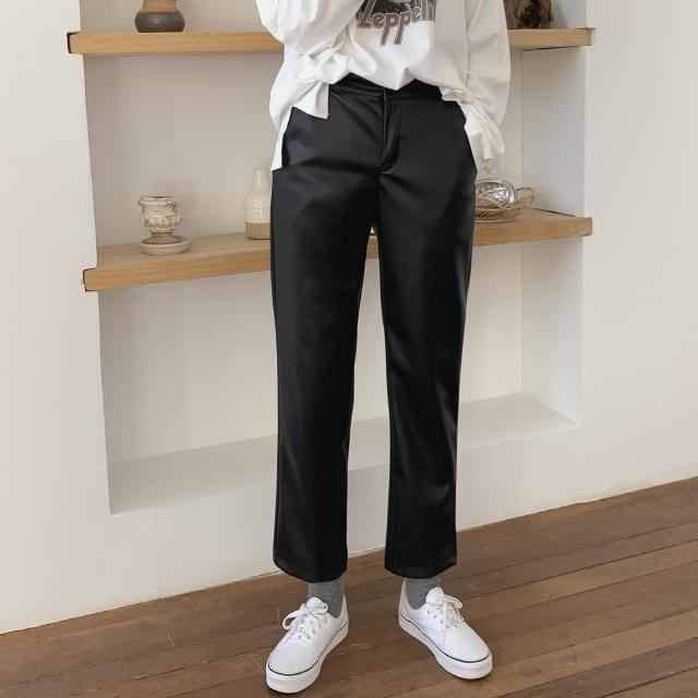 Brushed lining-straight leather pants-pt