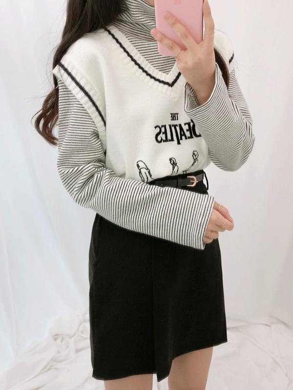 韓國空運 - Tutu striped Turtleneck T-shirt 長袖上衣
