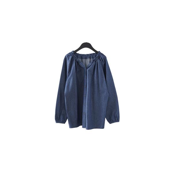 neck shirring denim blouse