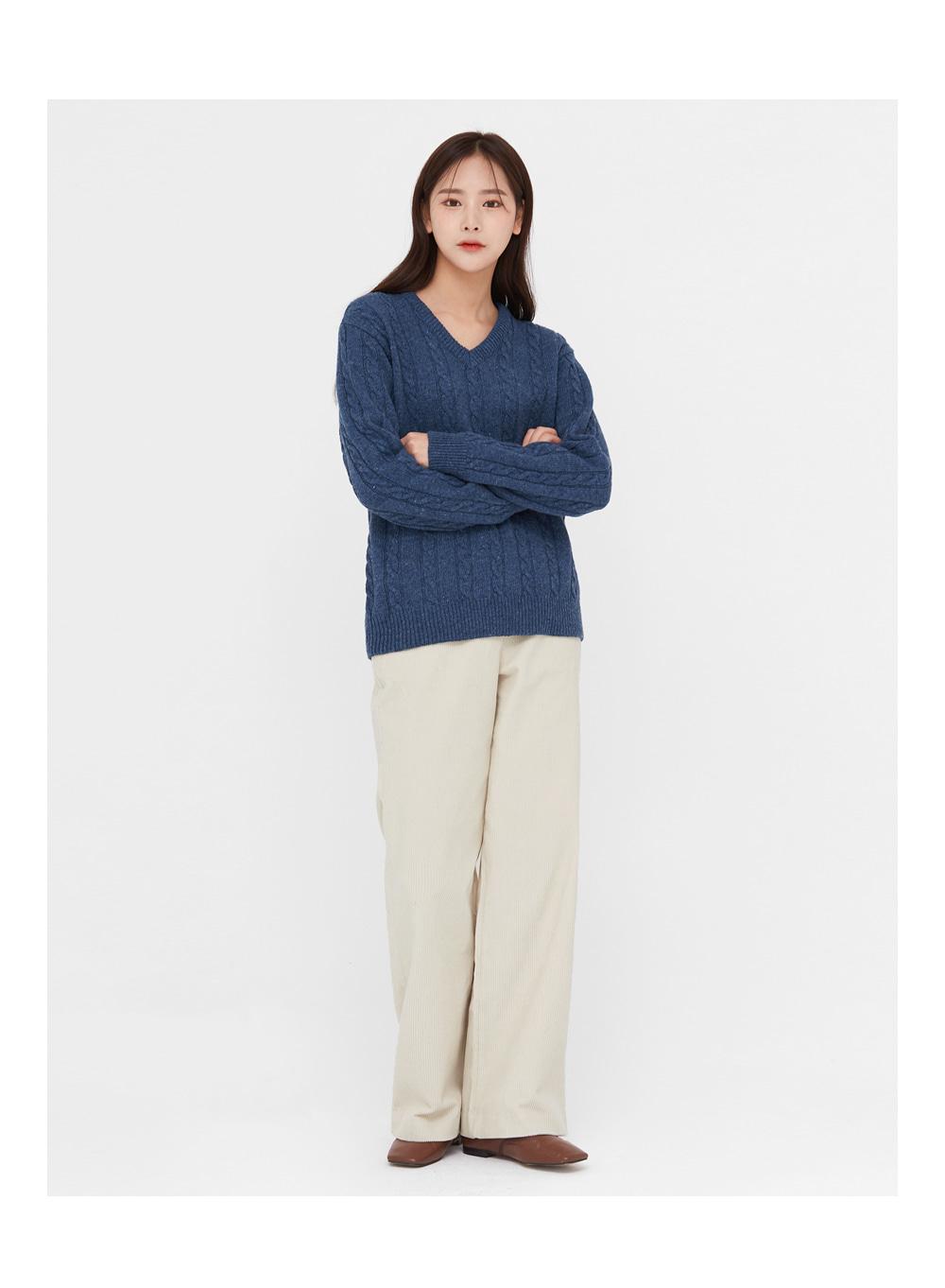 motive cable v-neck wool knit