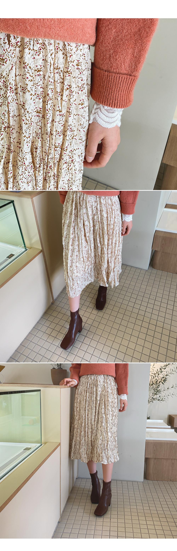 Calm flower flared lining brushed skirt
