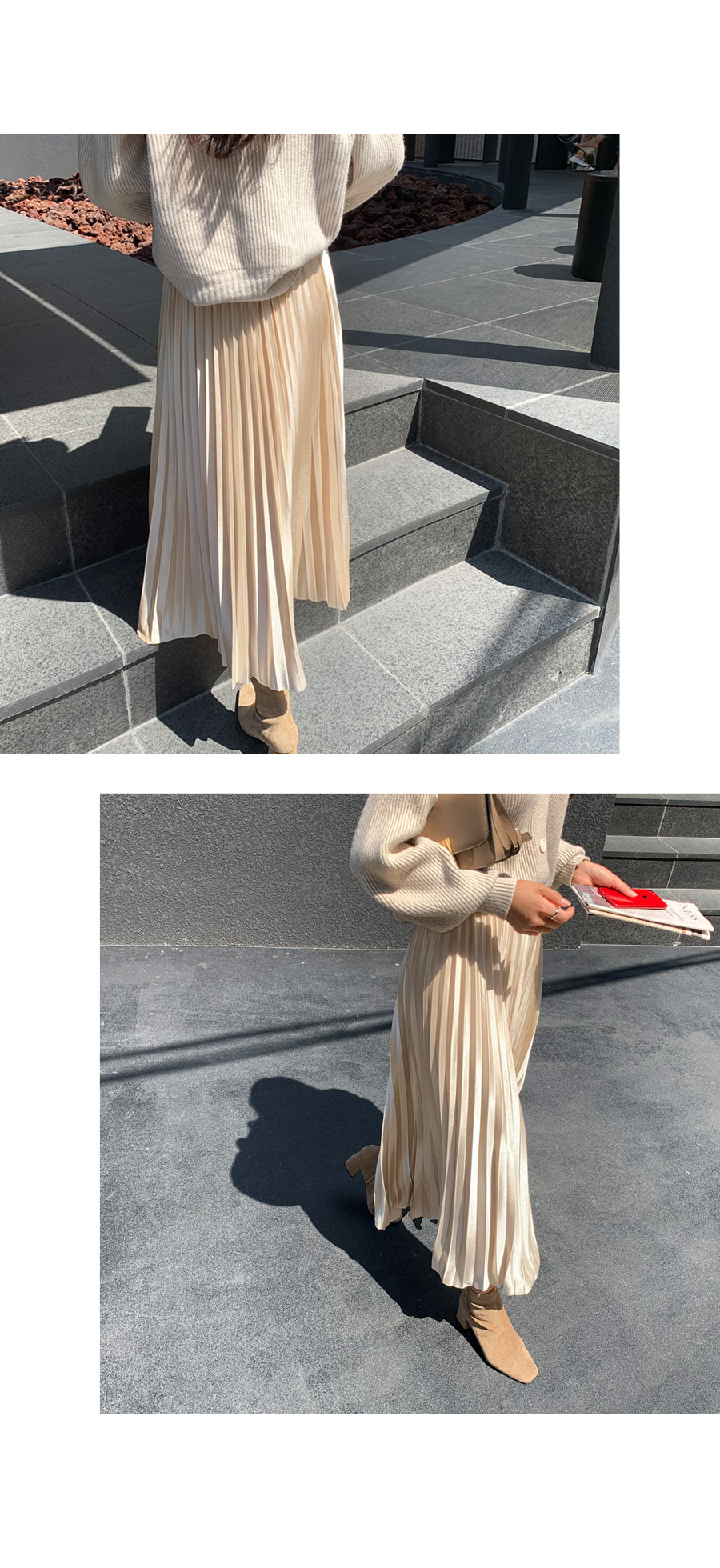 Genie golf puff cardigan with gold pearling long skirt