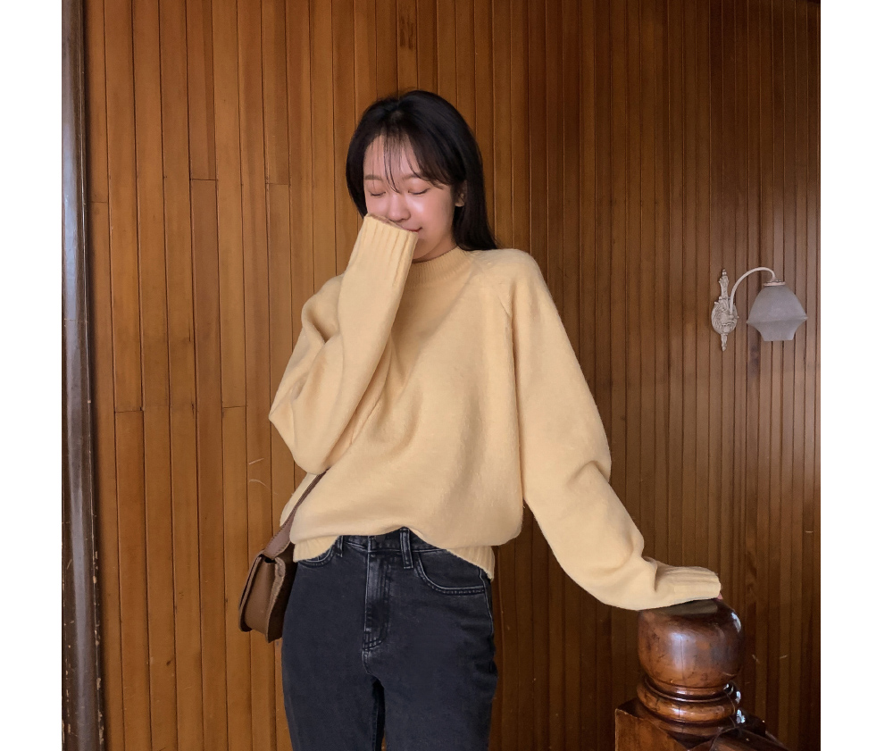 Daily Half Neck Basic Knit-knit