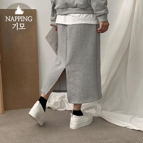 Layered brushed skirt set
