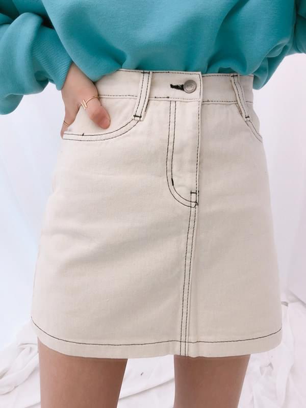 4507 brushed stitching cotton miniskirt