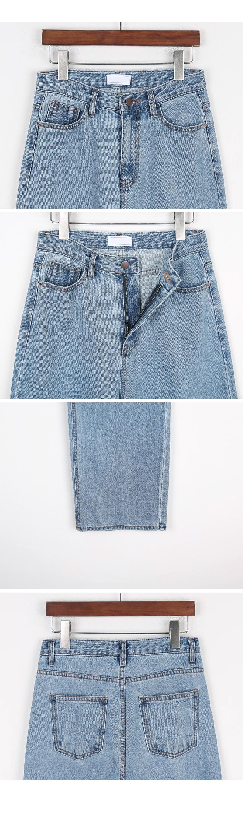 Pin wide denim pants