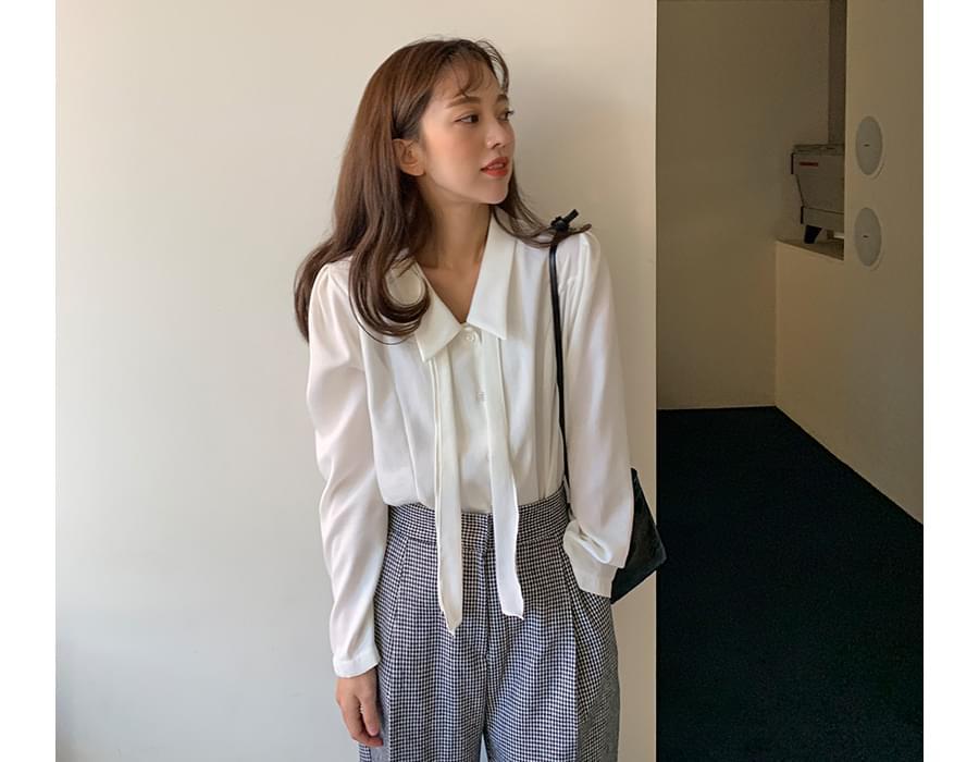 French slim tie blouse_U