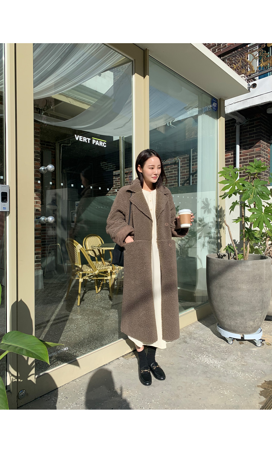 Reversible Long Mustang coat Brown