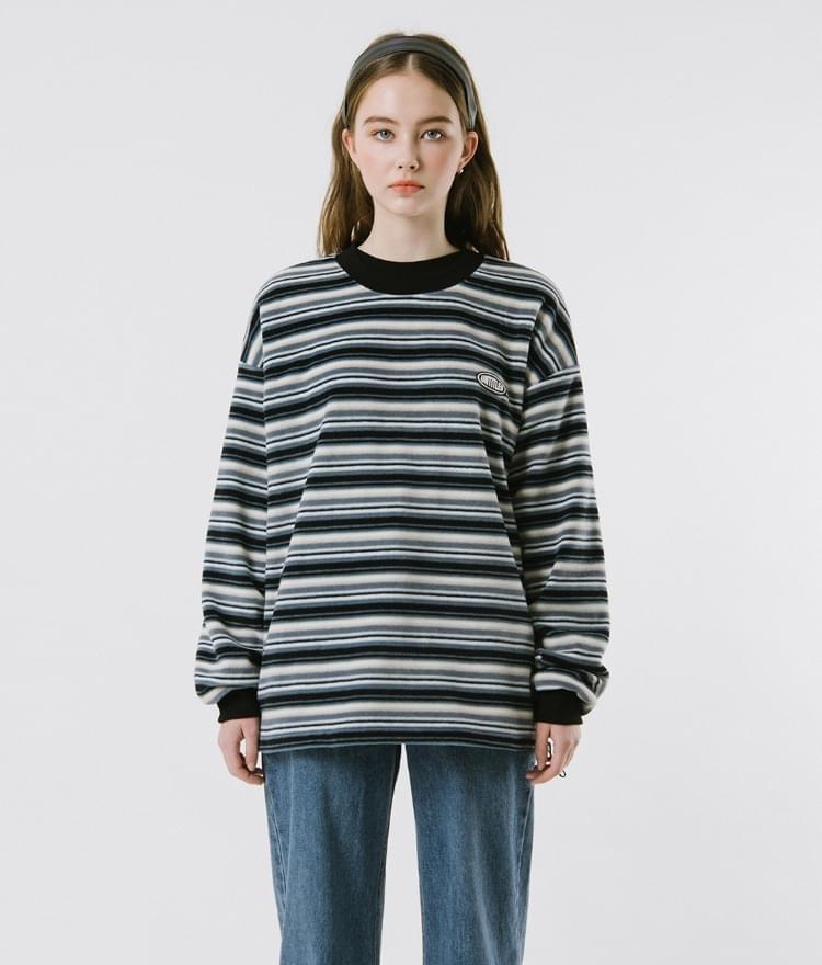 Fleece Stripe Sweat Shirt Long Sleeve