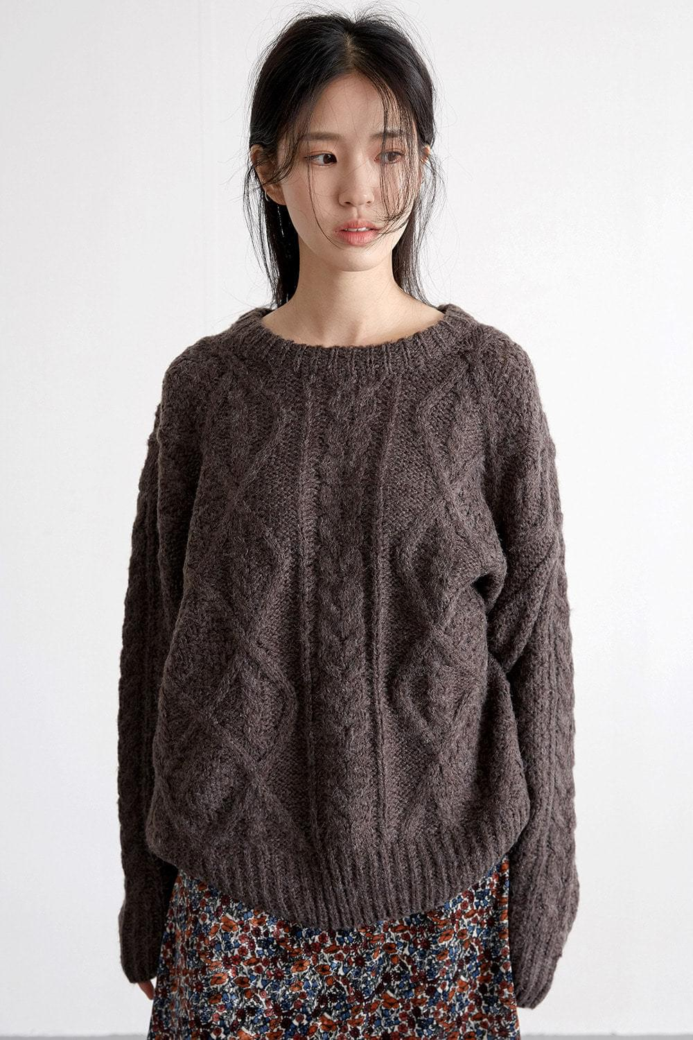 dia cable sweater (3colors)