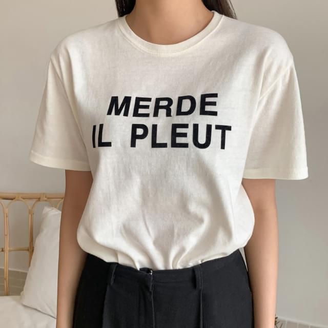 Lettering print brushed short sleeves