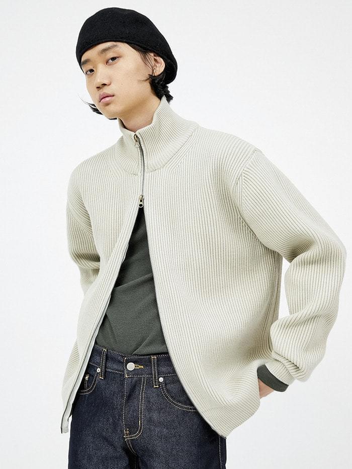 half zip-up knit cardigan (3 color) - men
