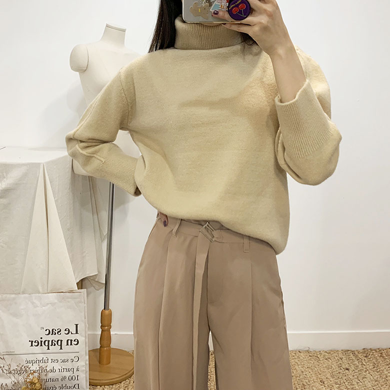 Elves Pastel Turtleneck Polar Knit