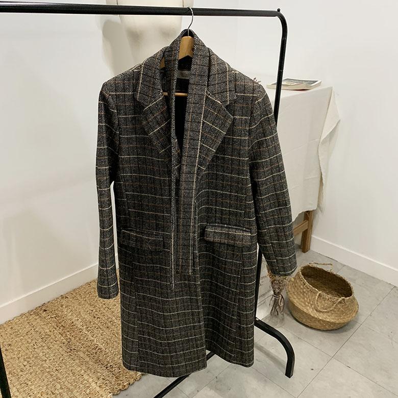Menhen Check Single Long Coat