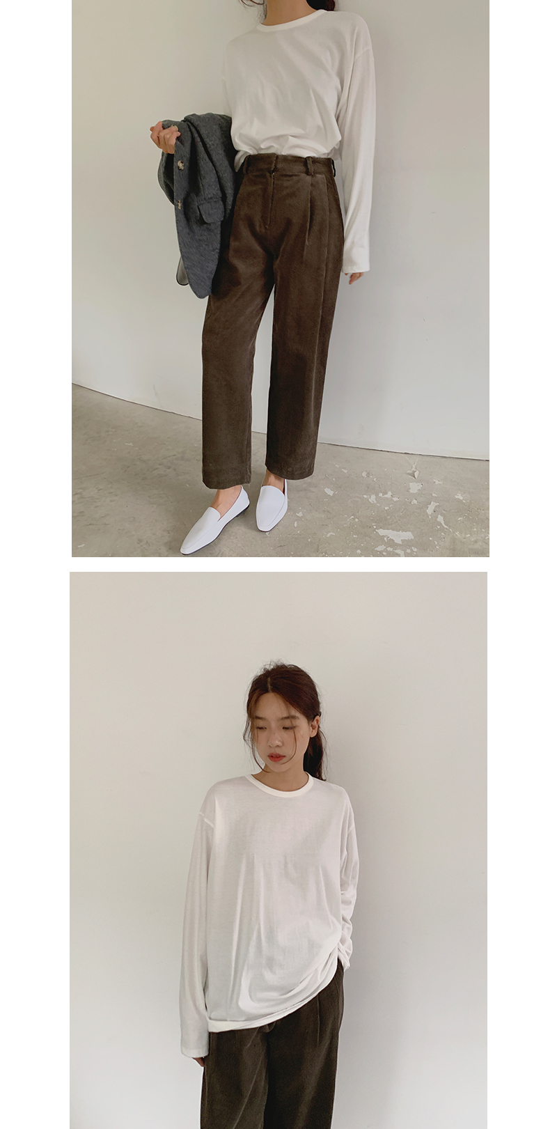 Corduroy pintuck crop pants_C