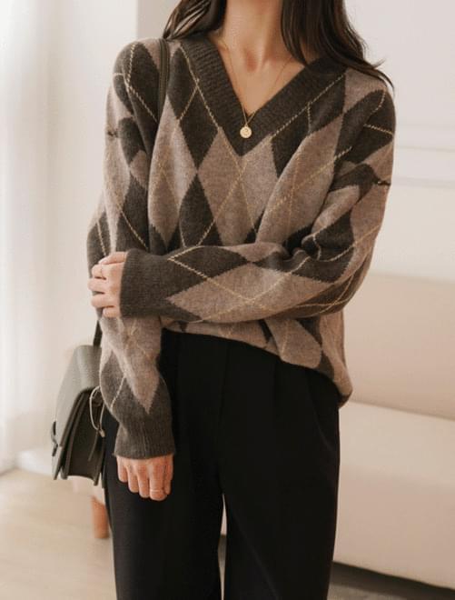 Wooden Argyle Knit_H