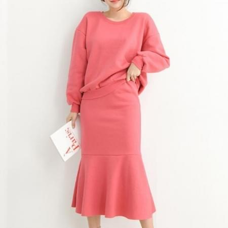 Women's two-piece set brushed one-to-one + mermaid skirt