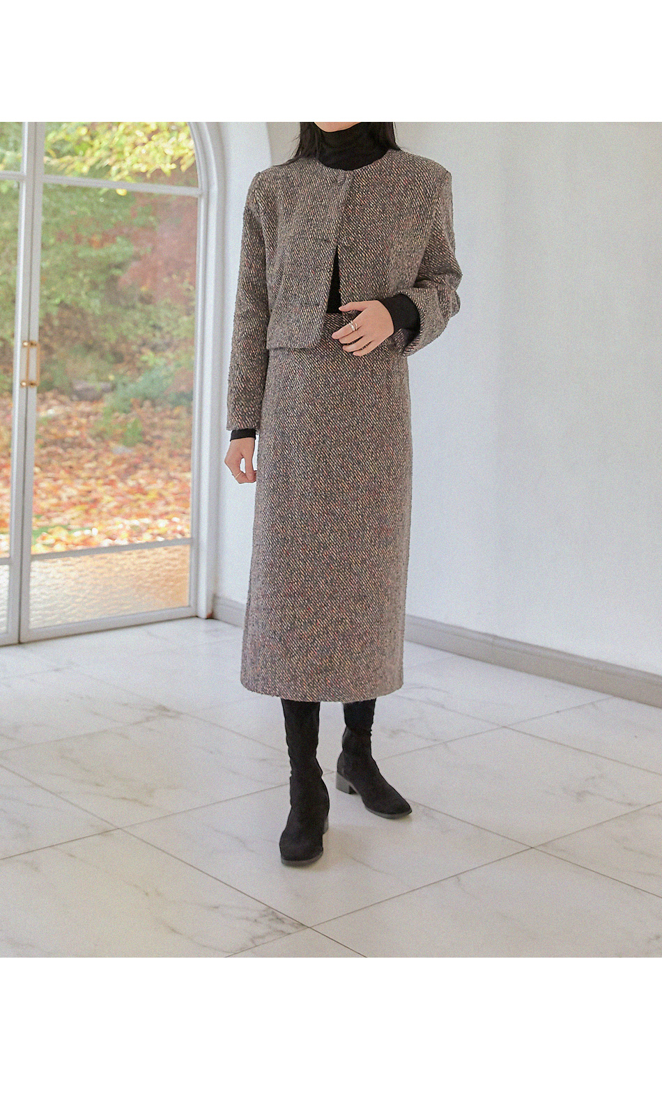 WOOL 70% TWEED SET-UP LONG SKIRT