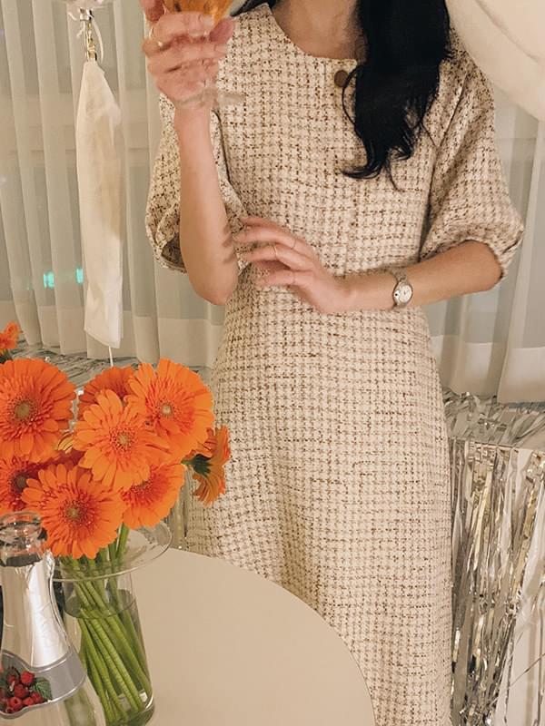 My-littleclassic / Snowball-flared tweed dress