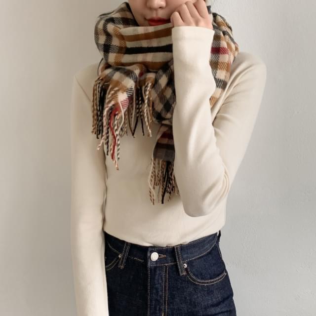 Block check knit scarf