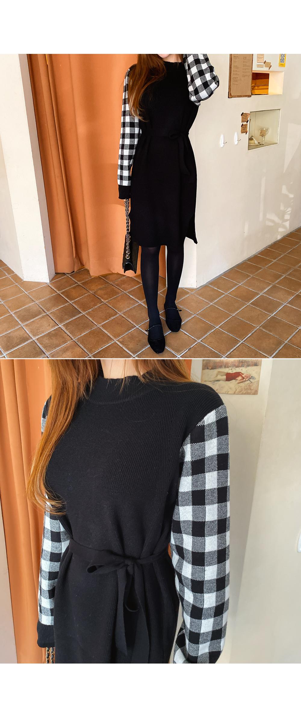 Check sleeve dress