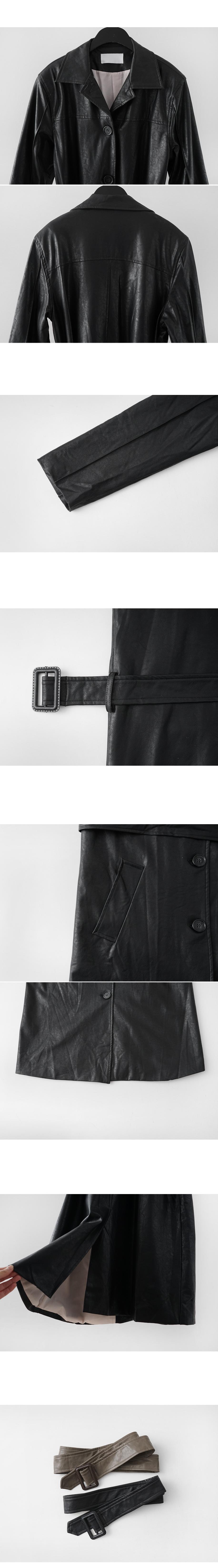 real leather mood long coat