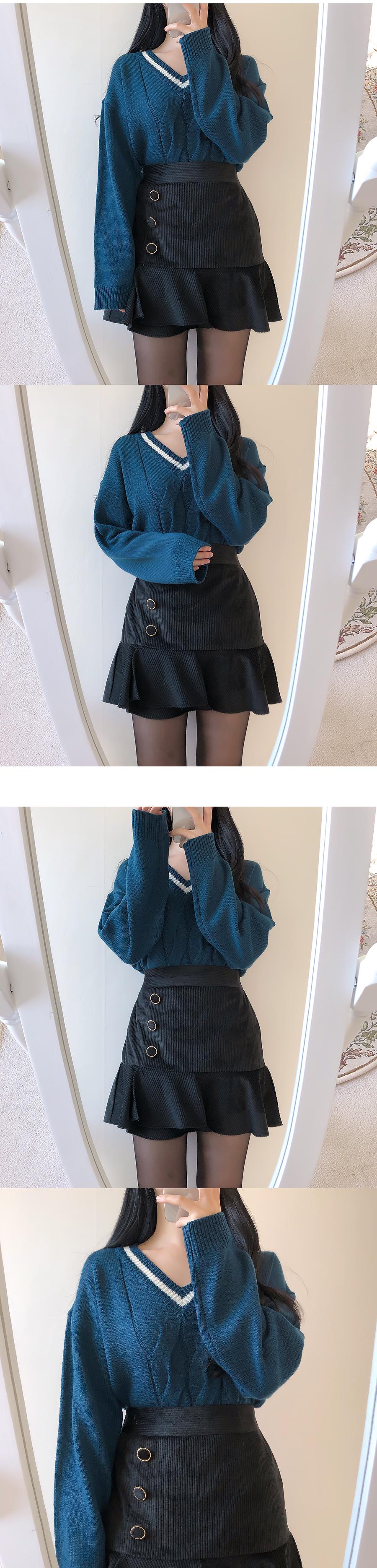 Way button skirt pants