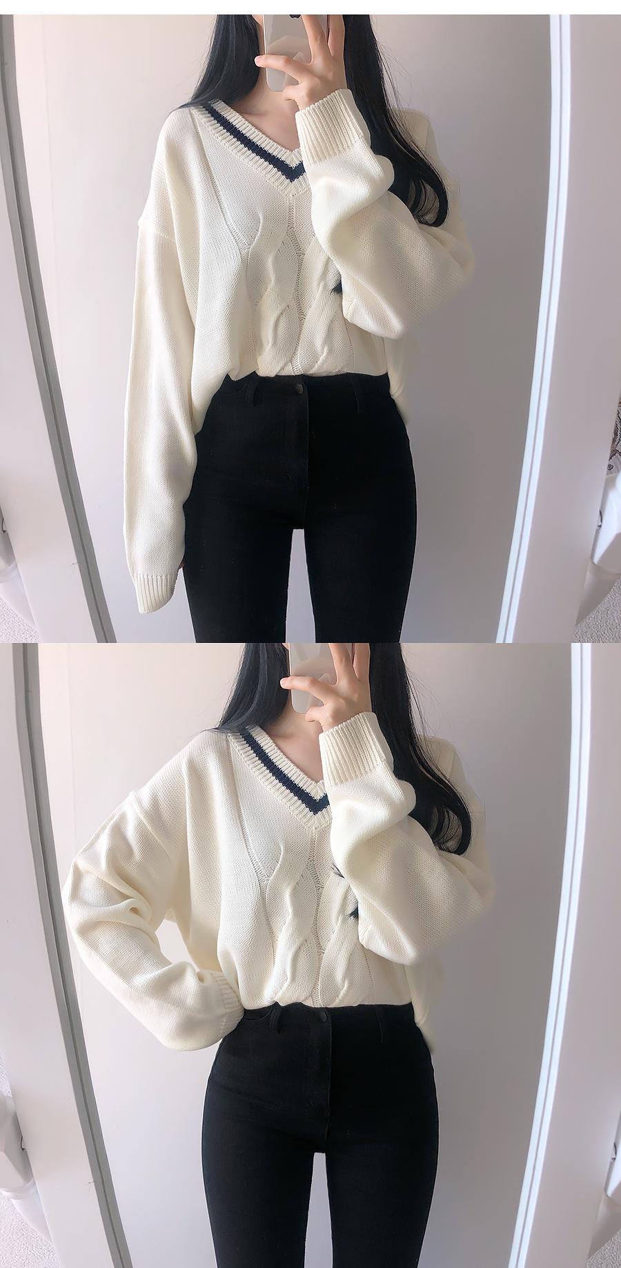 學院風♥V領麻花針織毛衣