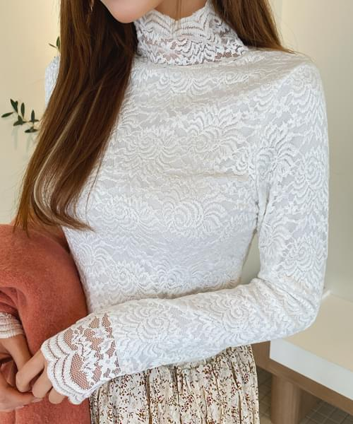 Flower lace brushed blouse