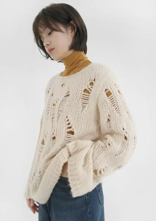natural destroyed knit top