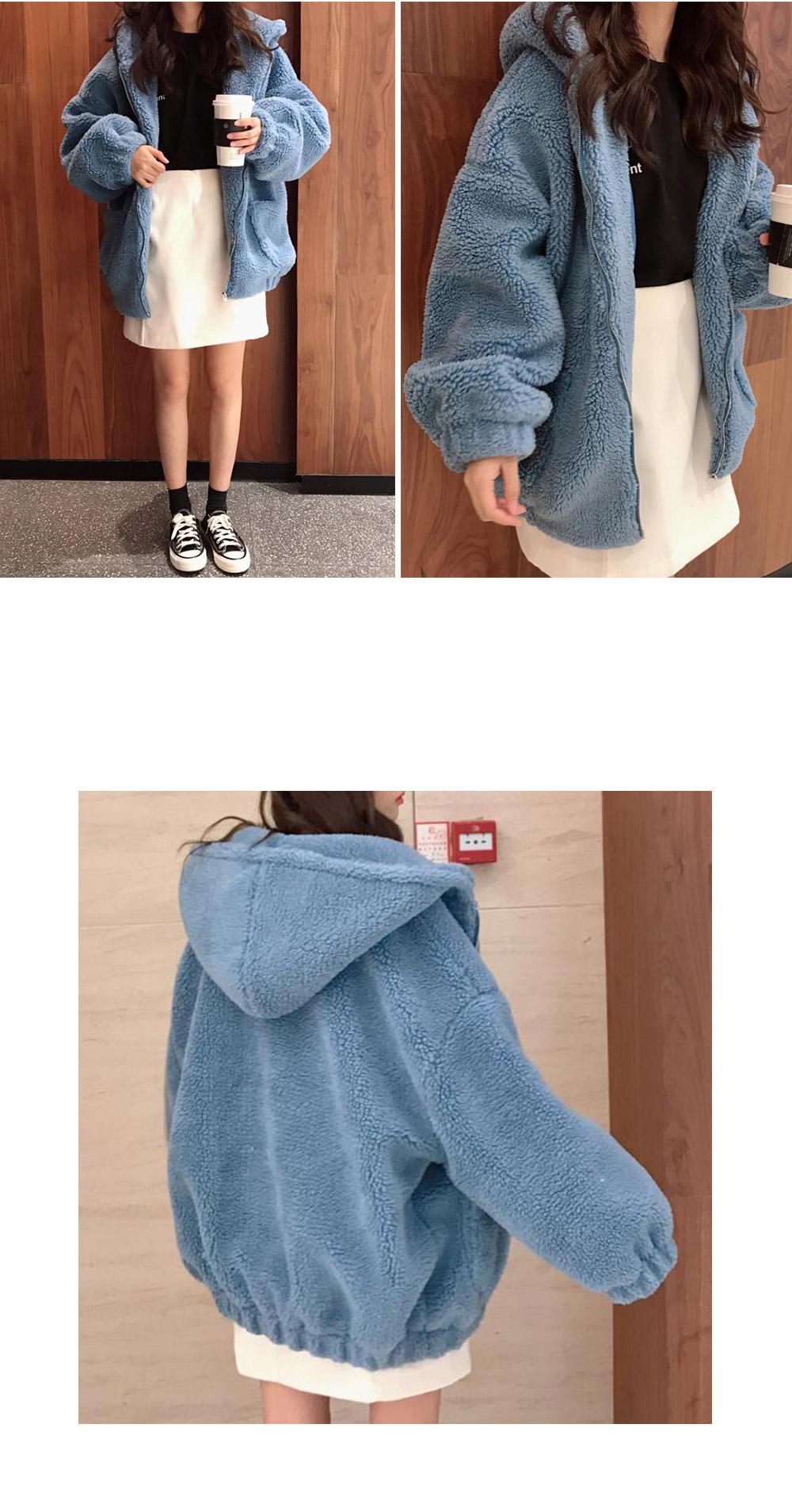 Day-in pocket dumble hood zip-up